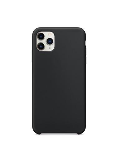 Bludfire Apple iPhone 11 Pro Max (6.5'') Kılıf Liquid Lansman Silikon Siyah Siyah